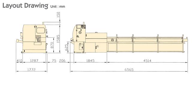 High Speed Circular Sawing Machine KTC-70/100EH Layout Drawing