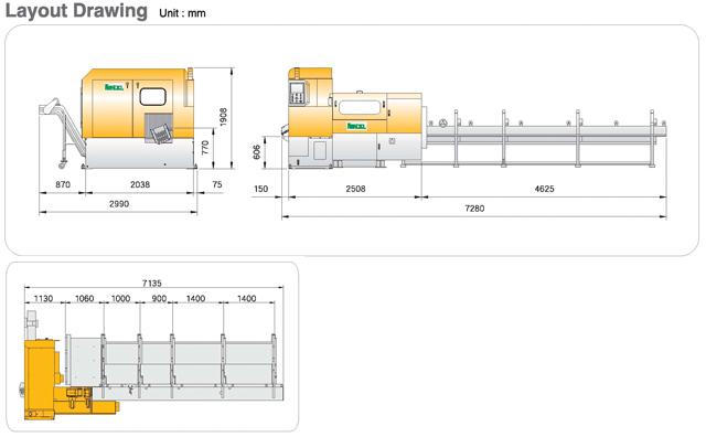 High Speed Circular Sawing Machine KTC-150/200SP Layout Drawing