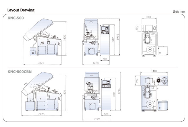 CNC 2 Axis Saw Grinding Machine KNC-500CBN Layout Drawing